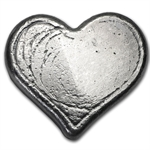 1 oz Bison Bullion Silver Heart .999 Fine