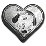 3 oz Bison Bullion Silver Heart .999 Fine