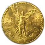 Mexico 1946 50 Peso Gold Coin MS-65 PCGS (Secure Plus!)