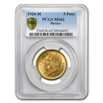 Mexico 1920 5 Pesos Gold MS-62 PCGS