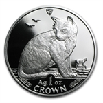 Isle of Man 1990 1 Crown Silver Proof Alley Cat