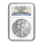 2011 Silver Eagle - MS-69 NGC - 25th Anniv/Blue Label