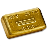 10 oz Loaf-Style Engelhard Poured Gold Bar 997.8 Fine