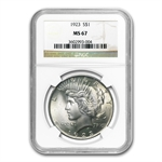 1922-1925 Peace Silver Dollars - MS-67 NGC