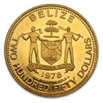Belize 1978 Two Hundred Fifty Dollars Gold Coin (Abrasions)