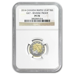 2014 1/10 oz Silver Canadian $2 Maple Leaf Gilt PF-70 NGC