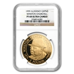 Alderney 1999 5 Pound Gold Churchill PF-68 UCAM NGC