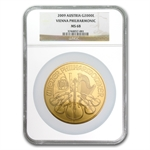 2009 20 oz Gold Austrian Philharmonic NGC MS-68 (20th Ann)