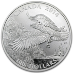 2014 1 oz Silver Canadian $100 - Majestic Bald Eagle