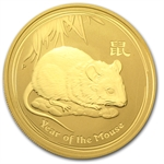2008 1 oz Gold Lunar Year of the Mouse (SII) (Light Abrasions)