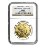 1996 1 oz Gold Chinese Panda 15th Anniversary MS-66 NGC