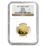 2011 (1/4 oz) Gold Chinese Panda - MS-68 NGC