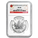 1996 1 oz Silver Canadian Maple Leaf MS-68 NGC