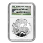 2013 1 oz Silver New Zealand Treasures $1 Kiwi NGC PF69