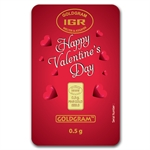 1/2 gram Happy Valentine's Day Gold Bar (In Assay) .9999