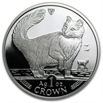 Isle of Man 1991 1 Crown Silver Proof Norwegian Cat