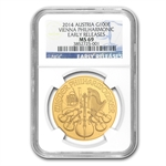 2014 1 oz Gold Austrian Philharmonic NGC MS-69 ER