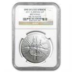 2011 1 oz Silver Britannia MS-70 Matte NGC (One of 2337 struck)