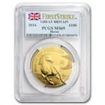 2014 Great Britain 1 oz Gold Year of the Horse MS-69 PCGS FS