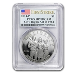 2014-P Civil Rights of 1964 $1 Silver Commem PR-70 DCAM PCGS (FS)