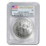 2014-P Civil Rights of 1964 $1 Silver Commem MS-70 PCGS (FS)