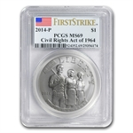 2014-P Civil Rights of 1964 $1 Silver Commem MS-69 PCGS (FS)