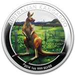 2014 1 oz Silver Colorized Kangaroo Berlin World Money Fair Coin