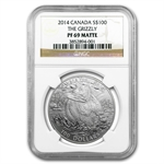 2014 1 oz Silver Canadian $100 - Grizzly Bear - PF-69 Matte - NGC