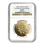 Great Britain 1989 Gold 5 Pound 500th Anniv. Sov. NGC MS-69