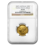 Australia 1887-S Gold Sovereign Shield Rev. AU-58 NGC