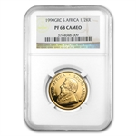 1990 GRC 1/2 oz Gold South African Krugerrand PF-68 CAM NGC