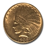 1908-D $10 Indian Gold Eagle - No Motto - AU-58 PCGS