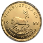 1988-GRC 1/4 oz Gold South African Krugerrand PF-68 UCAM NGC