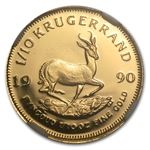 1990-GRC 1/10 oz Gold South African Krugerrand PR-69 UCAM NGC