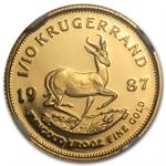 1987-GRC 1/10 oz Gold South African Krugerrand PF-68 UCAM NGC