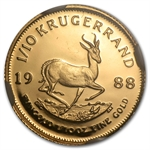 1988-GRC 1/10 oz Gold South African Krugerrand PF-69 UCAM NGC
