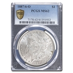 1887/6-O Morgan Dollar - MS-62 PCGS VAM-3 Overdate Top-100