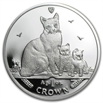 Isle of Man 2014 1 Crown Silver Proof Snowshoe Cat