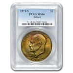 1973-S Eisenhower Silver Dollar MS-66 - PCGS Beautiful Toning