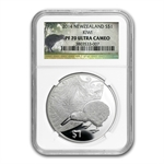 2014 1 oz Silver New Zealand Treasures $1 Kiwi PF-70 UCAM NGC