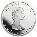 1989 1 oz Proof Silver Canadian Maple Leaf - Abrasions