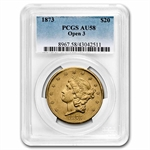1873 $20 Gold Liberty Double Eagle - (Open 3) - AU-58 PCGS