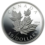 2014 5 oz Silver Proof Canadian $50 - High Relief Maple