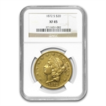 1872-S $20 Gold Liberty Double Eagle - XF-45 NGC