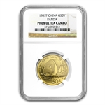 1987 (1/2 oz Proof) Gold Chinese Pandas - PF-68 UCAM NGC