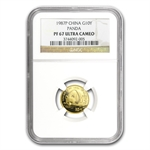 1987 (1/10 oz Proof) Gold Chinese Pandas - PF-67 UCAM NGC