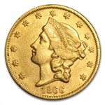 1866 $20 Liberty Gold Double Eagle - Extra Fine