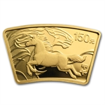 2014 Year of the Horse 1/3 oz Gold & 1 oz Silver Fan w/Box & CoA