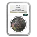 1889 Morgan Dollar MS-63 NGC - Prismatic Rose - CAC