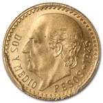 Mexico 1945 2 1/2 Pesos Gold Coin - MS-68 PCGS